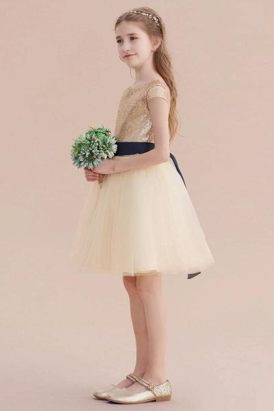 Sequins Tulle Cap Sleeve A-line Flower Girl Dress_6