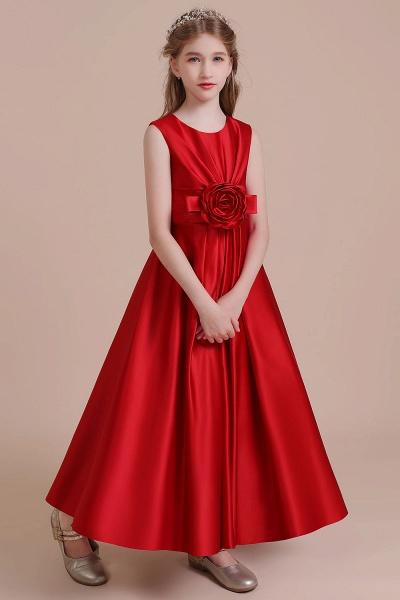 Chic Satin A-line Ankle Length Flower Girl Dress_4