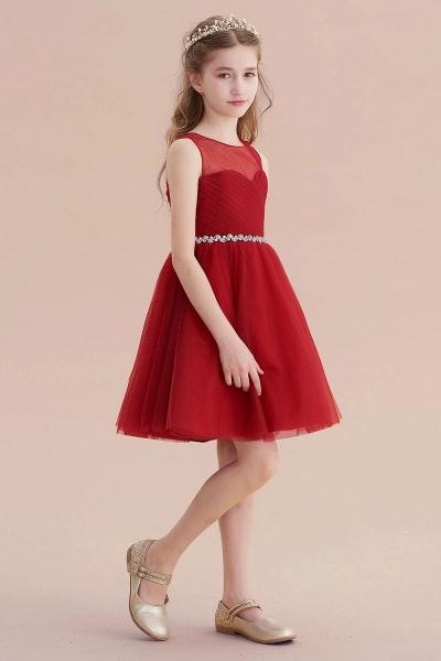 Illusion Tulle Knee Length A-line Flower Girl Dress_7