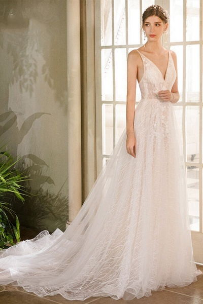 Best Cathedral Train Tulle A-line Wedding Dress_2