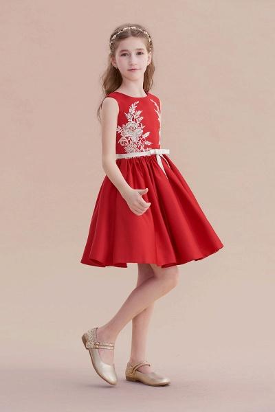 Affordable Appliques Satin A-line Flower Girl Dress_7