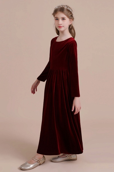 Long Sleeve A-line Velvet Flower Girl Dress_6