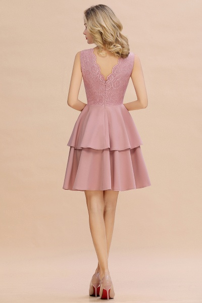 Sexy V-neck V-back Knee Length Homecoming Dress with Ruffle Skirt_19