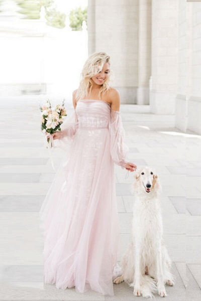 Graceful Long Sleeve A-line Tulle Wedding Dress_8