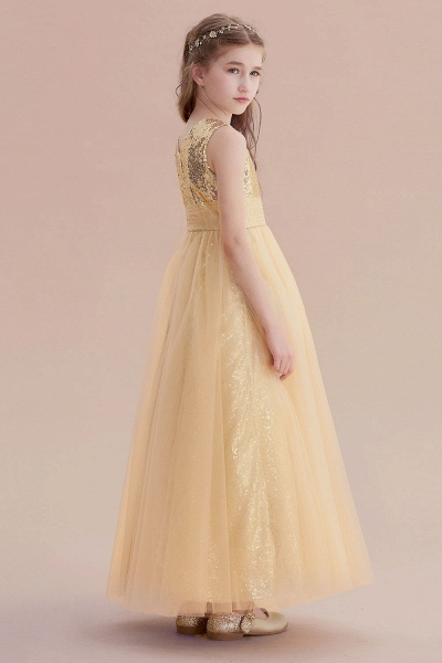 Awesome Sequins Tulle Flower Girl Dress_7