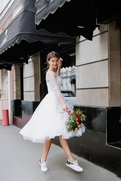 Illusion Long Sleeve Tulle A-line Wedding Dress_3