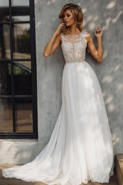 Elegant Tulle Appliques A-line Wedding Dress_4