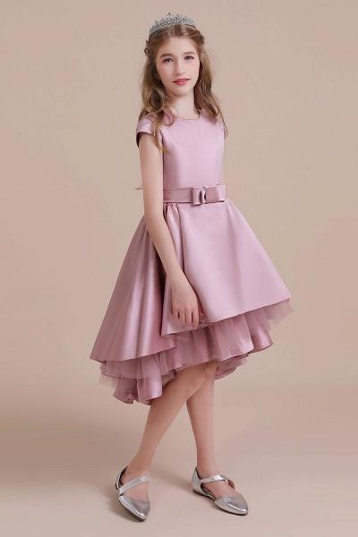 Cap Sleeve A-line Satin High-low Flower Girl Dress_5
