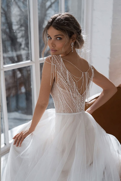 Beading Cathedral Train Tulle A-line Wedding Dress_6