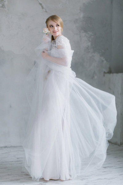 Short Sleeve Appliques Tulle A-line Wedding Dress_4