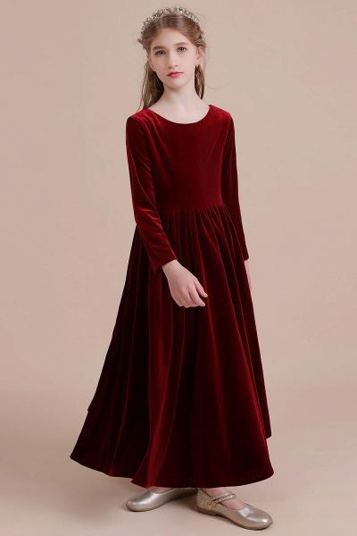 Long Sleeve A-line Velvet Flower Girl Dress_9