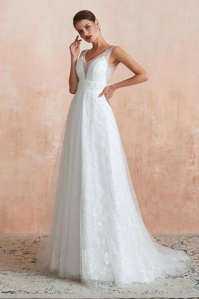 Graceful V-neck Pearl Tulle A-line Wedding Dress_6