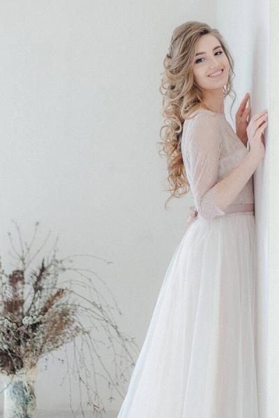 Amazing Sheer Lace Tulle Floor Length Wedding Dress_4