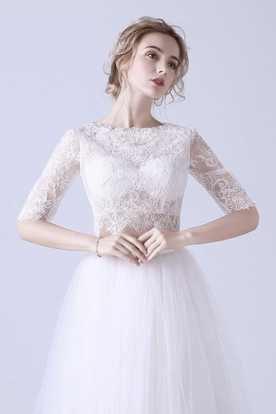 Affordable Lace Tulle Two Piece Wedding Dress_4