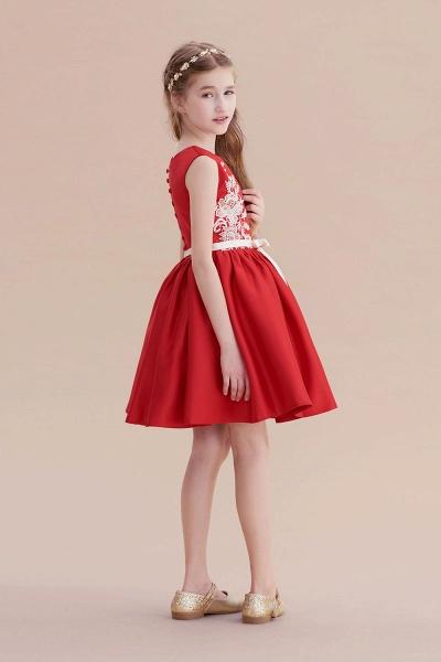 Affordable Appliques Satin A-line Flower Girl Dress_8