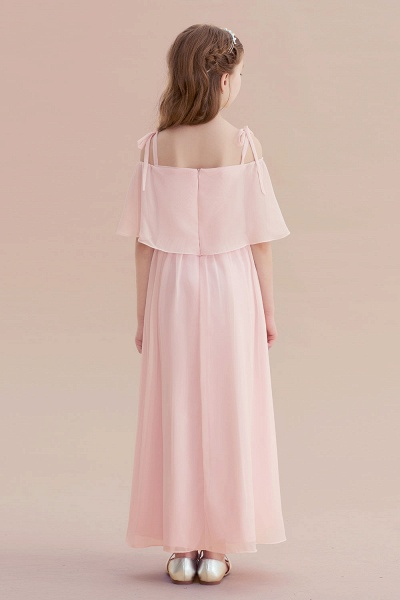 Cold-shoulder A-line Chiffon Flower Girl Dress_3