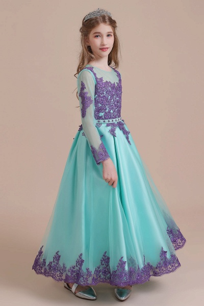 Chic Long Sleeve Appliques A-line Flower Girl Dress_6