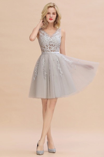 Sexy V-neck Lace-up Short Homecoming Dress with Lace Appliques_5