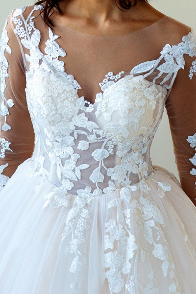 Lace-up Appliques Tulle Ball Gown Wedding Dress_5