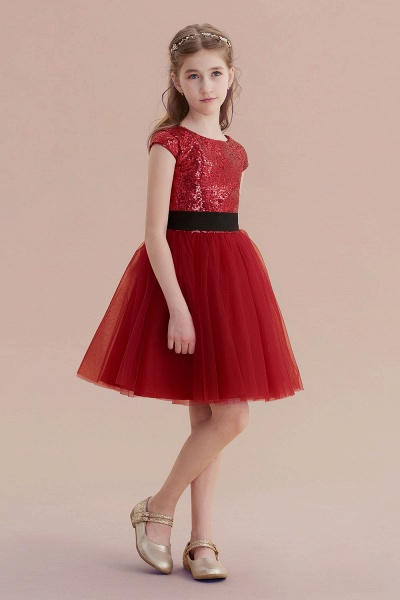 Cap Sleeve Sequins Tulle A-line Flower Girl Dress_6
