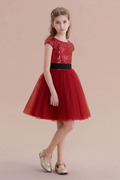 Cap Sleeve Sequins Tulle A-line Flower Girl Dress_6