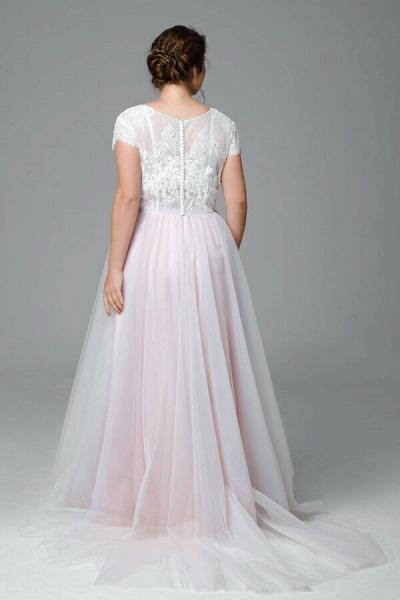 Plus Size Short Sleeve Lace Tulle Wedding Dress_3