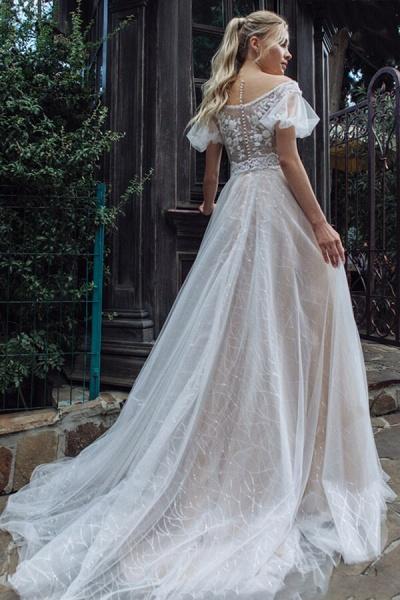 Short Sleeve Chapel Train Tulle Wedding Dress_3