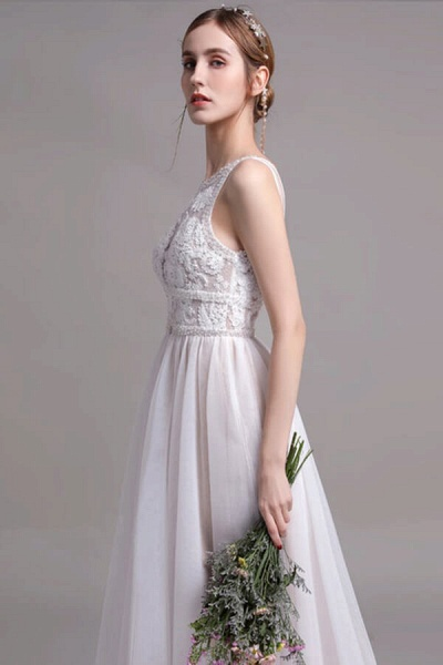 Best Lace Tulle Floor Length A-line Wedding Dress_5