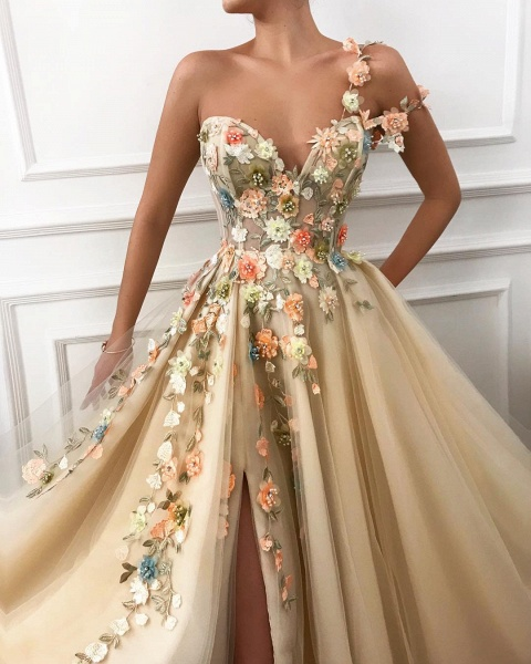 Attractive One Shoulder Tulle A-line Prom Dress_2