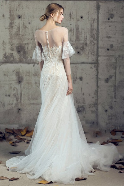 Illusion Long Sleeve Appliques Tulle Wedding Dress_4