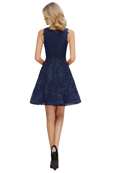 Princess V-neck Knee Length Lace Appliqued Homecoming Dress_13