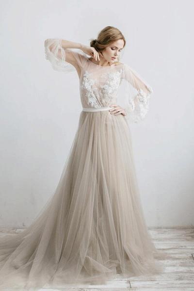 Graceful Appliques Long Sleeve Tulle Wedding Dress_1