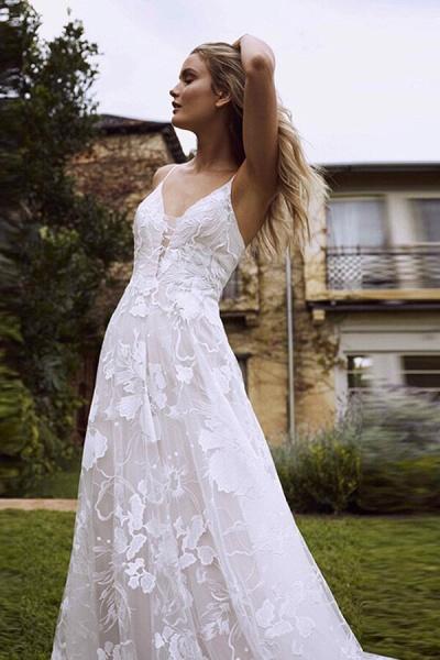 V-neck Spaghetti Strap A-line Tulle Wedding Dress_7