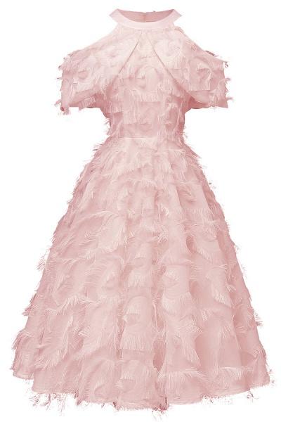 Elegant High neck Artifical Feather A-line Vintage Cocktail Dresses | Retro A-line Burgundy Homecoming Dress_2