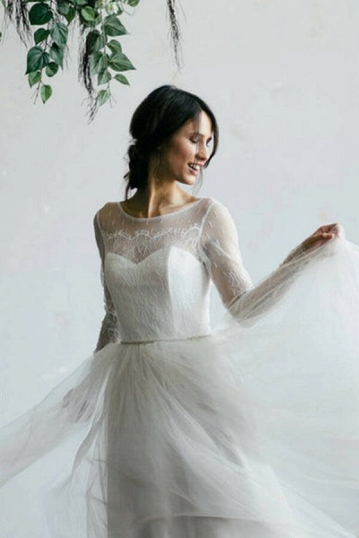 Chic Illusion Long Sleeve Lace Tulle Wedding Dress_8