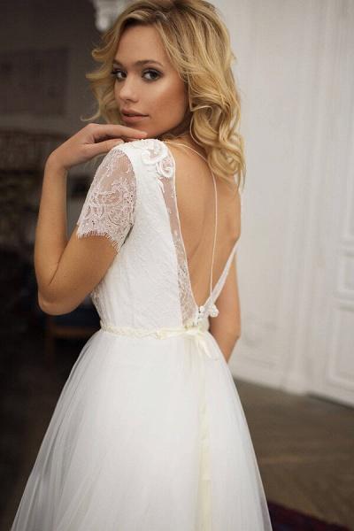 Short Sleeve Lace A-line Chiffon Wedding Dress_3
