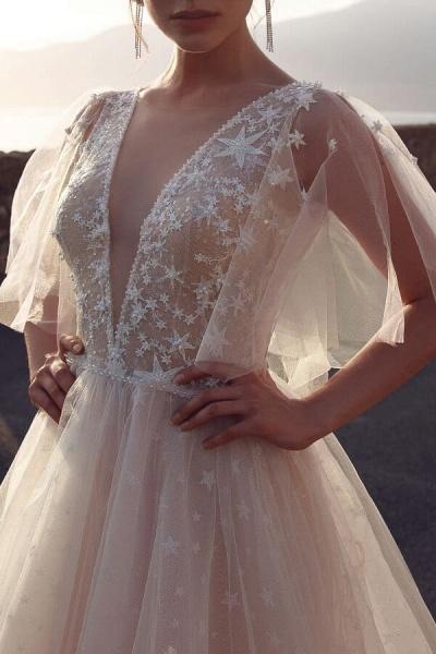 Chic Open Back V-neck Tulle A-line Wedding Dress_5