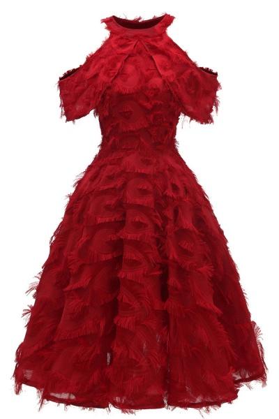 Elegant High neck Artifical Feather A-line Vintage Cocktail Dresses | Retro A-line Burgundy Homecoming Dress_3