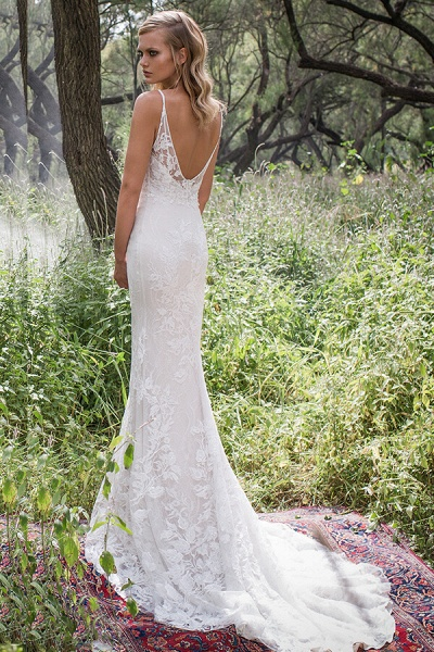 Elegant Spaghetti Strap Lace Mermaid Wedding Dress_3