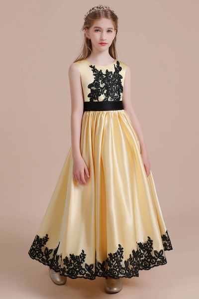 Chic Bow Appliques Satin A-line Flower Girl Dress_4