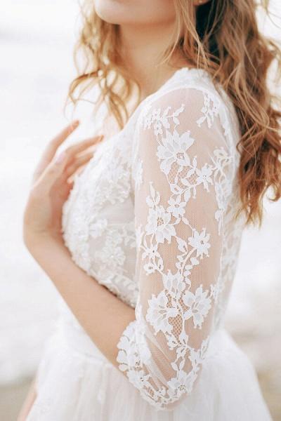 Modest V-neck Lace A-line Tulle Wedding Dress_7