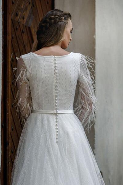 Awesome Long Sleeve Pearl A-line Wedding Dress_5