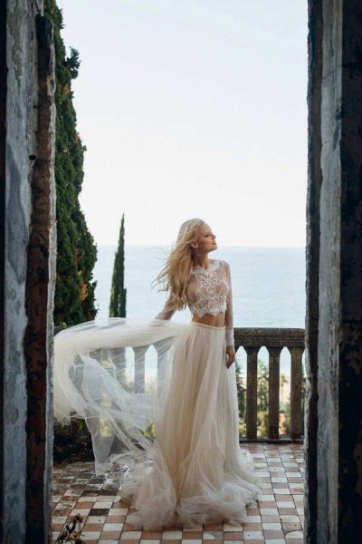 Long Sleeve Lace Tulle Two Piece Wedding Dress_3