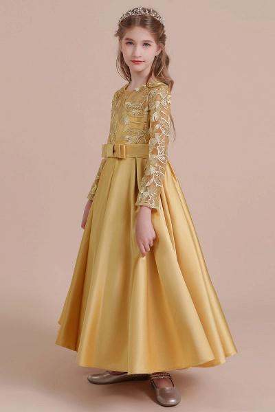Long Sleeve Satin Ankle Length Flower Girl Dress_5