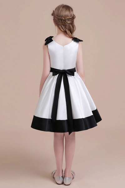 Latest Satin Knee Length Flower Girl Dress_3