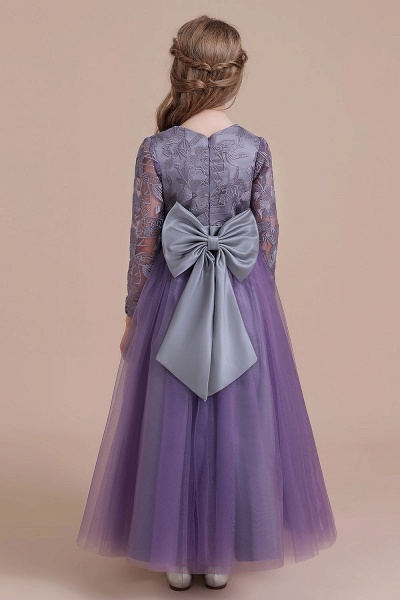 Long Sleeve A-line Ankle Length Flower Girl Dress_3