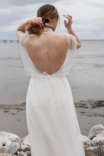 Best V-neck Floor Length Tulle Sheath Wedding Dress_7