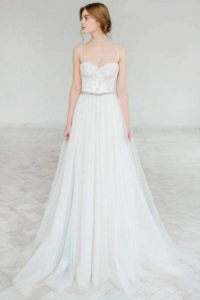 Best Spaghetti Strap Appliques Tulle Wedding Dress_1