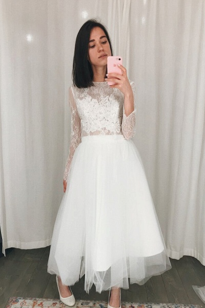 Chic Long Sleeve Lace Tulle A-line Wedding Dress_5