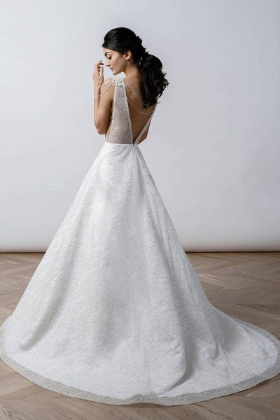 Beading V-neck Chapel Train A-line Wedding Dress_3